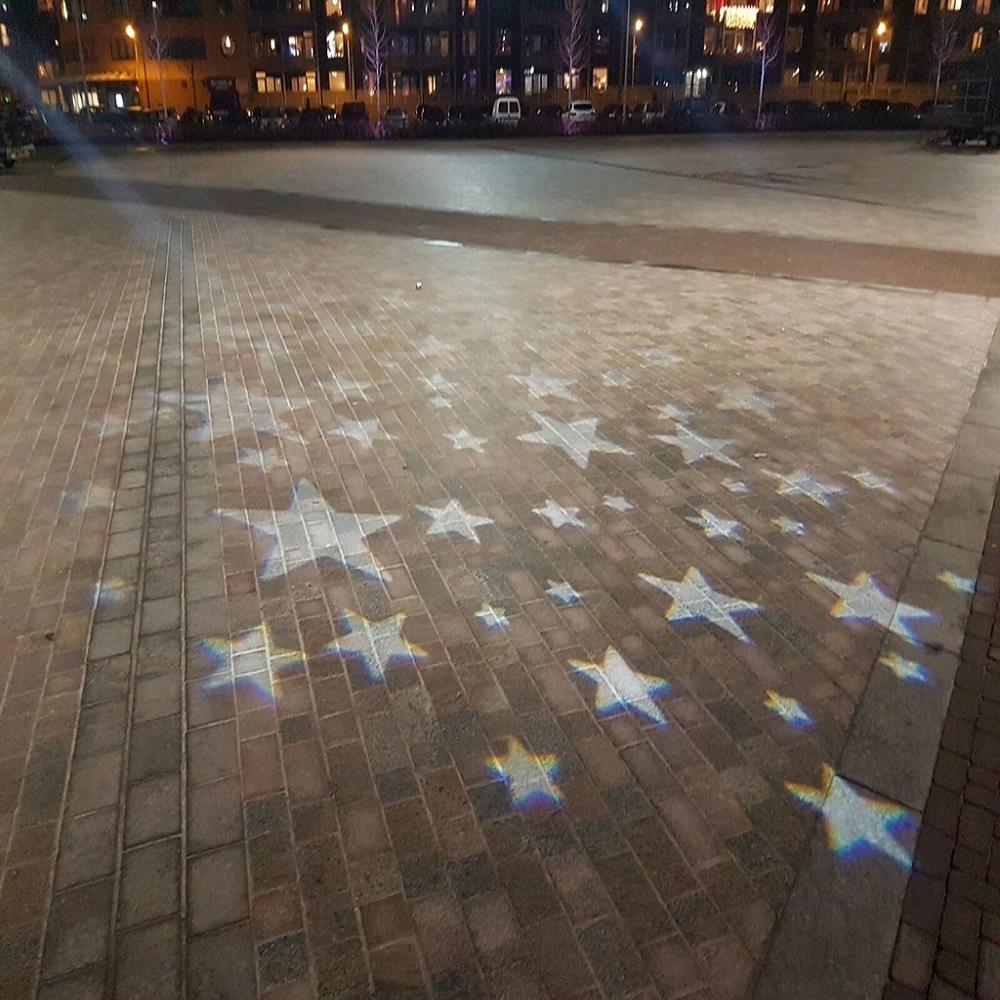 Dynamische lichtinstallatie marktplein Hilversum
