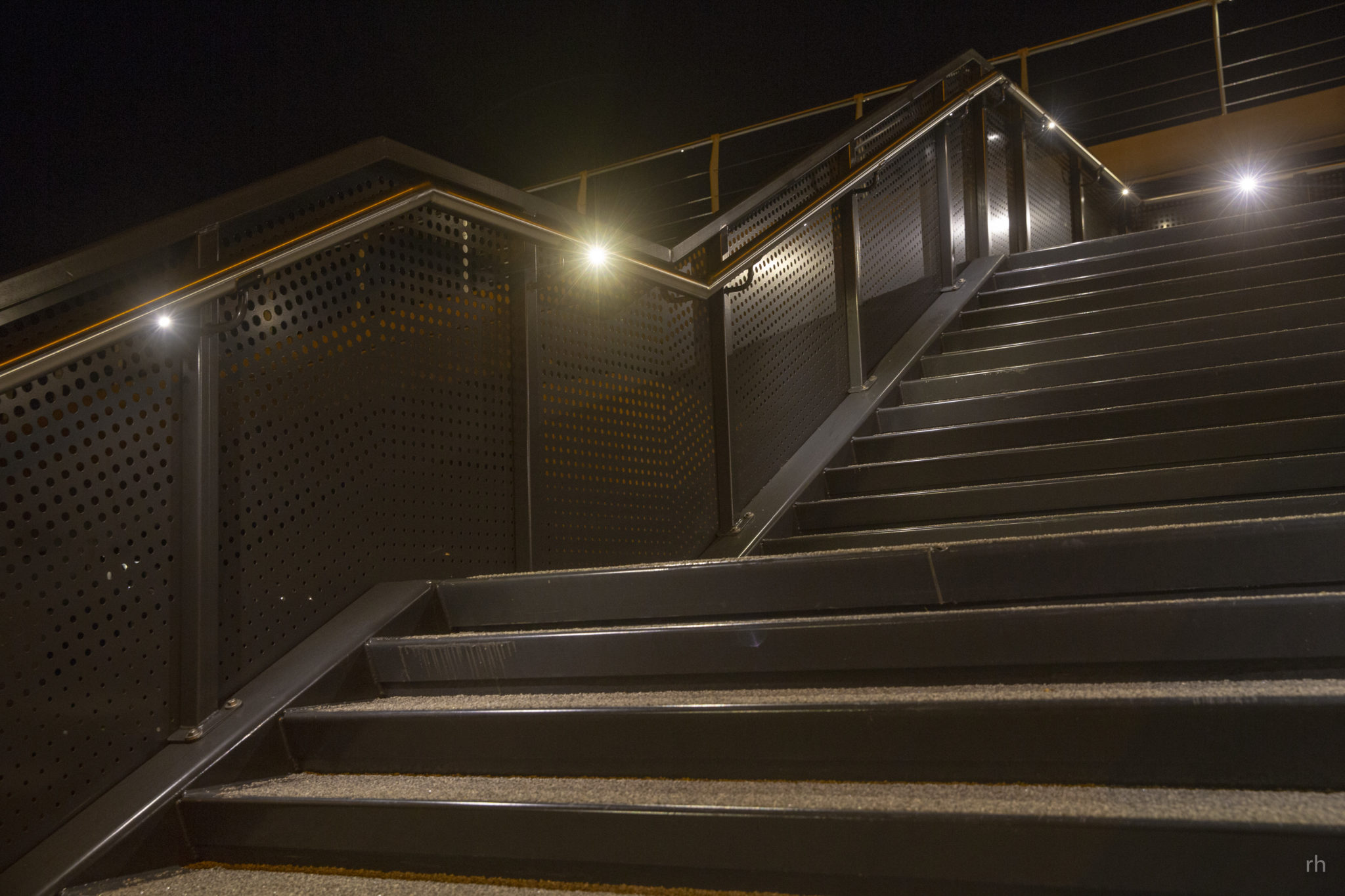 Led verlichting in rvs railing