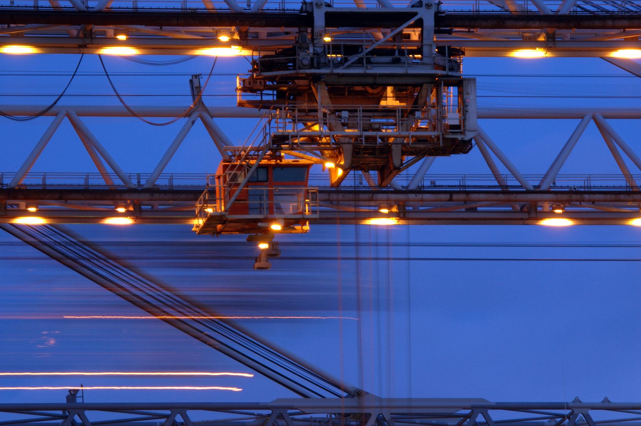 Kraanverlichting op containerterminal Rotterdam